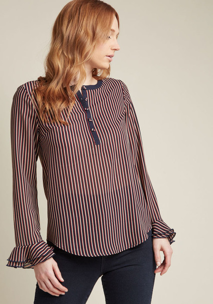 MCT1567 blouse top chiffon blouse chiffon stripes navy