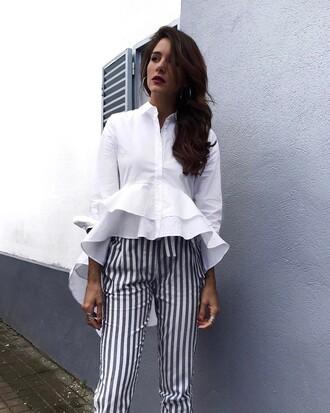 shirt tumblr white shirt ruffle ruffle shirt pants stripes striped shirt long sleeves