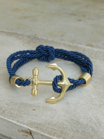 rope gold jewels navy blue jewelry anchor bracelet fashion jewelry