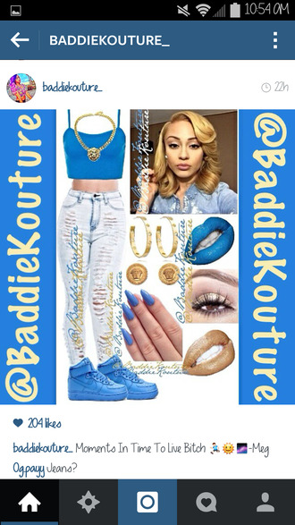 jeans blue nike baddiekouture_ outfit outfit idea