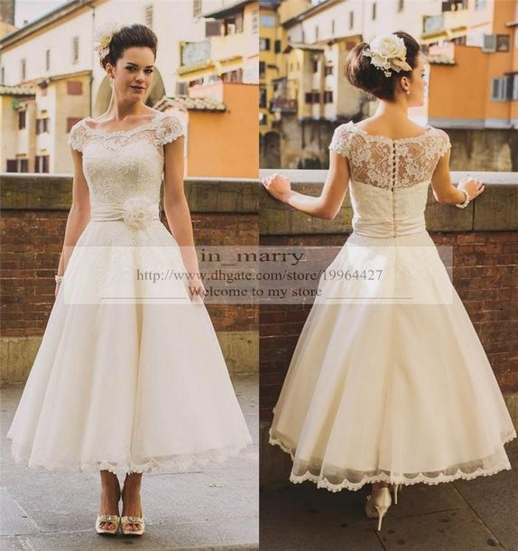 Dress tea length wedding dresses short wedding dress for Country wedding dresses cheap