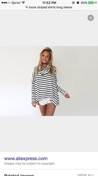 top striped top black and white long sleeves striped turtle neck