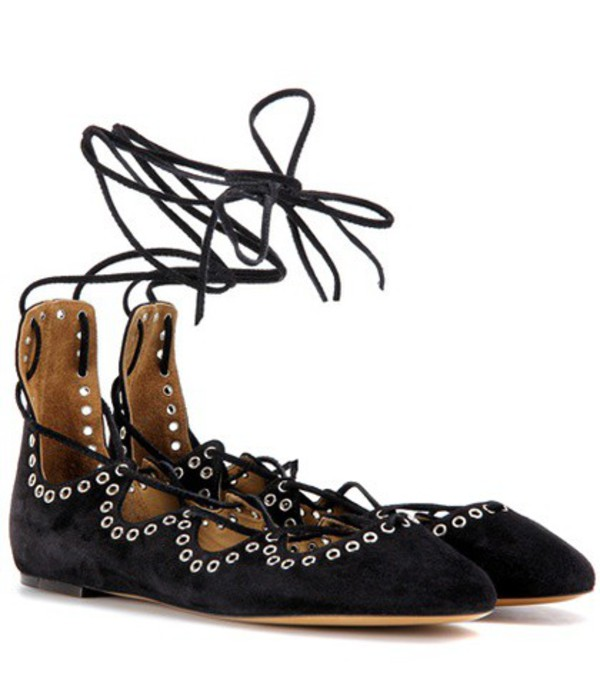 Isabel Marant Leoni Suede Ballerinas in black