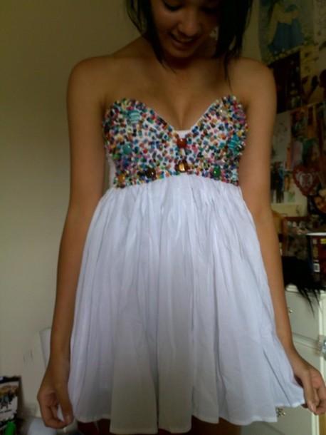 dress white beaded top pretty