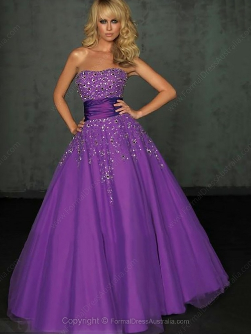 Ball Gown Tulle Satin Strapless Rhinestone Floor-length Formal Dresses-AUD$ 151.39