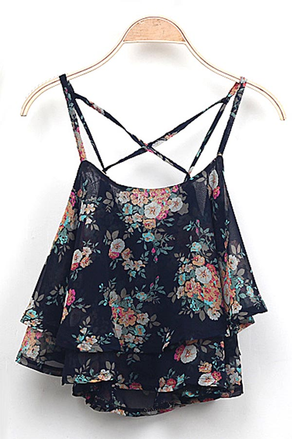 Multi Floral Print Spaghetti Strap Cami Tank @ Women's Tank Tops,Camisole,Camisole Tank Top,Layering Tanks,Long Tank Tops,Camisole with Built in Padded Bra,Silk Camisole,Lace Camisole,Cotton Camisole,Spaghetti Strap Tank Tops,Shelf Bra Tank,Strapless Camisole