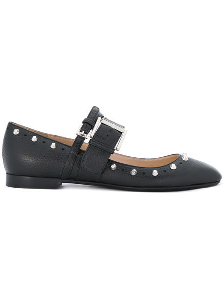 No21 studded metal women leather black shoes