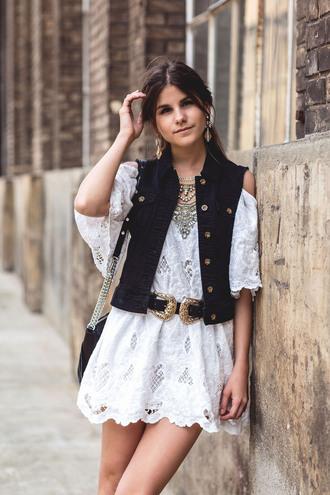 the fashion fraction blogger dress jacket belt bag shoes