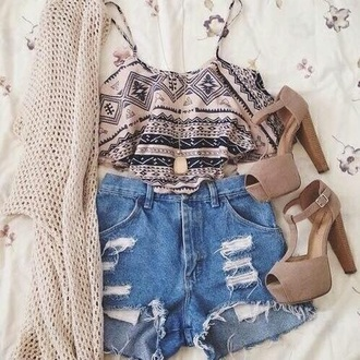 top crop tops shoes cardigan shorts blouse