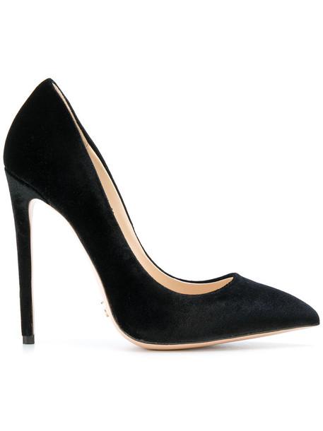 Gianni Renzi pointed toe pumps women pumps leather black velvet shoes