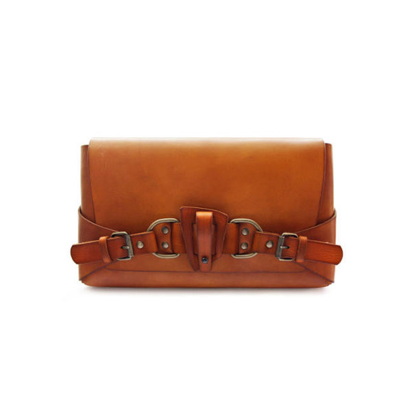 caramel brown leather bag clutch handcrafted