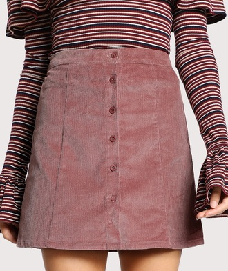 skirt girly pink corduroy button up button up skirt
