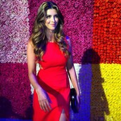dress,cut-out dress,shiva safai,celebrity,red dress,slit dress,hairstyles,clutch
