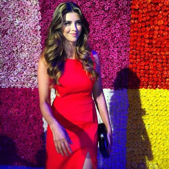 dress cut-out dress shiva safai celebrity red dress slit dress hairstyles clutch