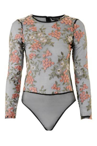 Topshop body long floral black underwear