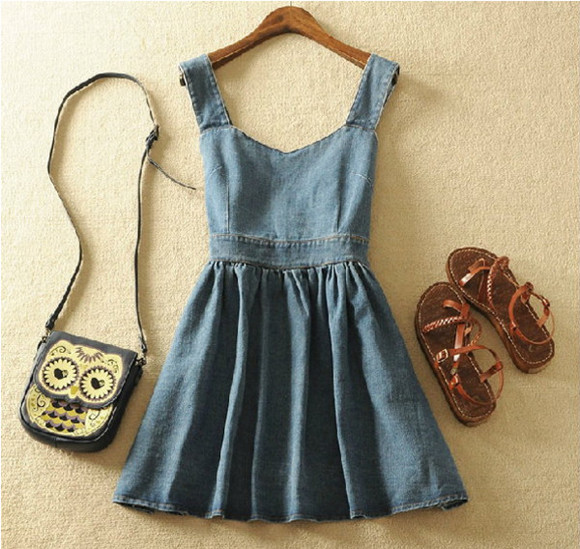 denim dress jeans bag sandals owl