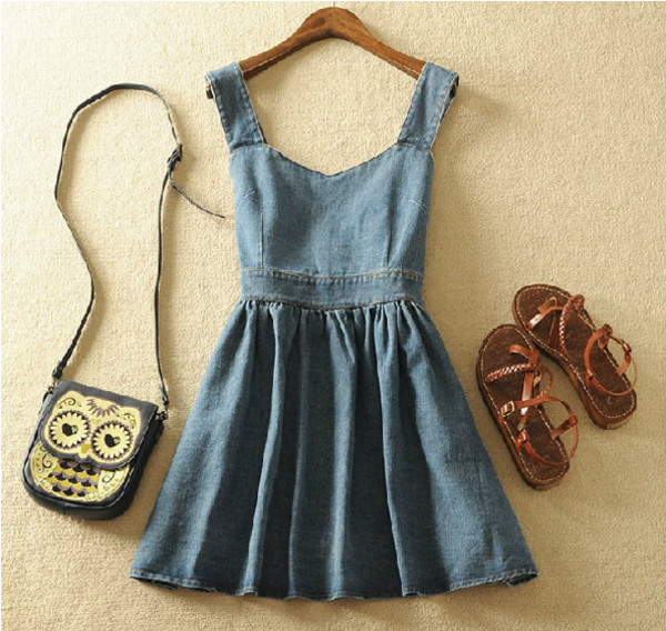 jeans bag sandals owl denim dress