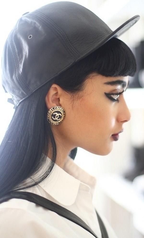 hat black leather jewels