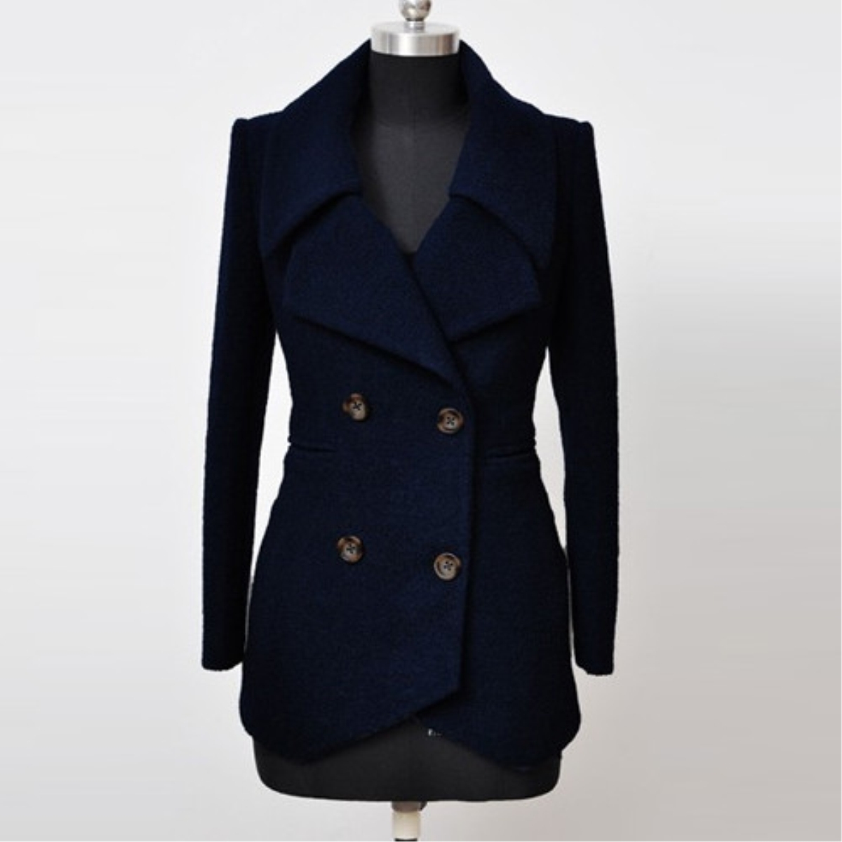 Plain Double-breasted Lapel Woolen Coat,Cheap in Wendybox.com