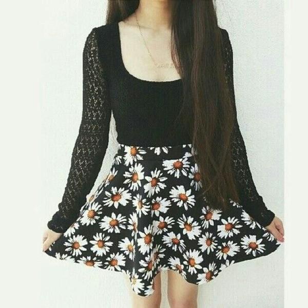 skirt sunflower black shirt black skirt daysies sweater t-shirt daisy daisy cute punk aesthetic tumblr high waisted trendy flowers