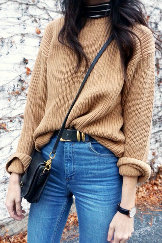 le fashion image blogger sweater jeans camel knitted sweater fall sweater fall colors oversized sweater top tan jumper knitwear clothes fashion spring winter outfits fall outfits cute