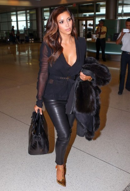 Top: kim kardashian, black top, leather pants, gold heels, gold ...