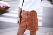 happily grey,blogger,shirt,skirt,shoes,bag,brown,suede,orange,mini skirt,pencil skirt,pleated skirt,denim skirt,suede skirt,camel suede skirt,camel,fall outfits,fall skirt,leather,pleather,taupe,zip up,zip up skirt