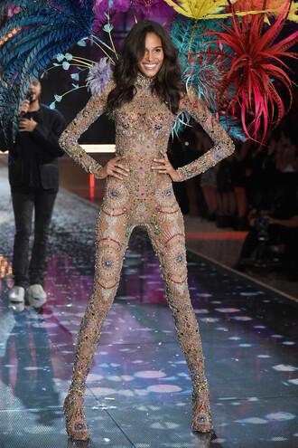 jumpsuit tights leggings runway embellished dress cindy bruna victoria's secret