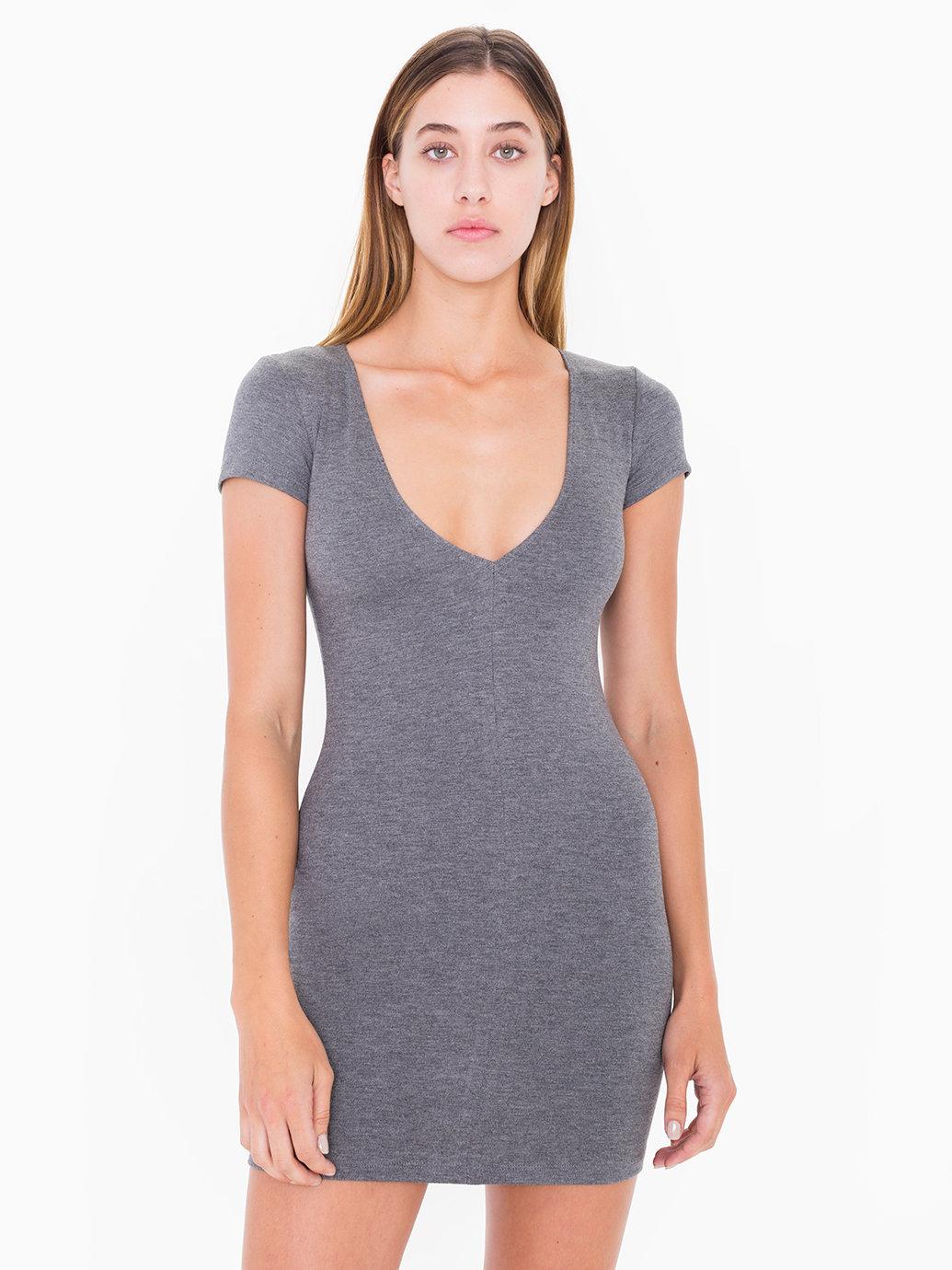 2818633256 Ponte V-Neck Mini Dress