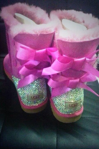 shoes, ugg boots, ugg boots, ugg boots, bling, boots, bow, bows, studs, sparkle, winter boots, winter outfits, fur - Wheretoget