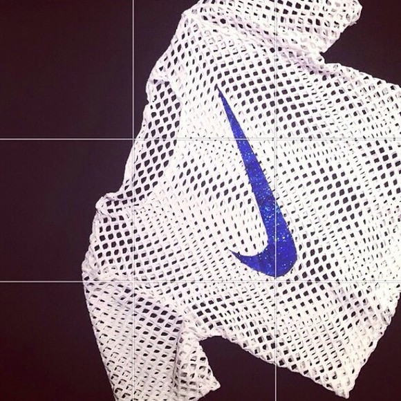 clothes shirt nike crop tops fishnet white