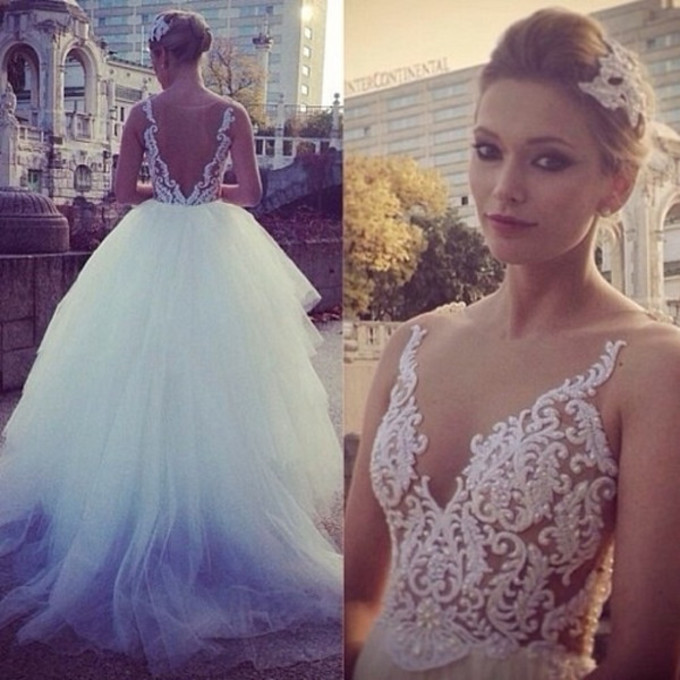 849652228054 Aliexpress.com   Buy Champagne Ball Gown Wedding Dresses 2015 With Lace  Applique Hand Bead V Neck Sleeveless Open Back ...