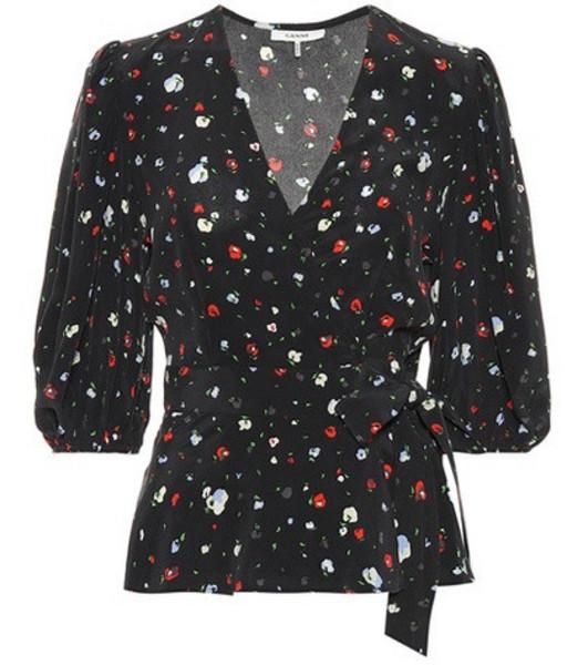 Ganni Nolana floral silk top in black