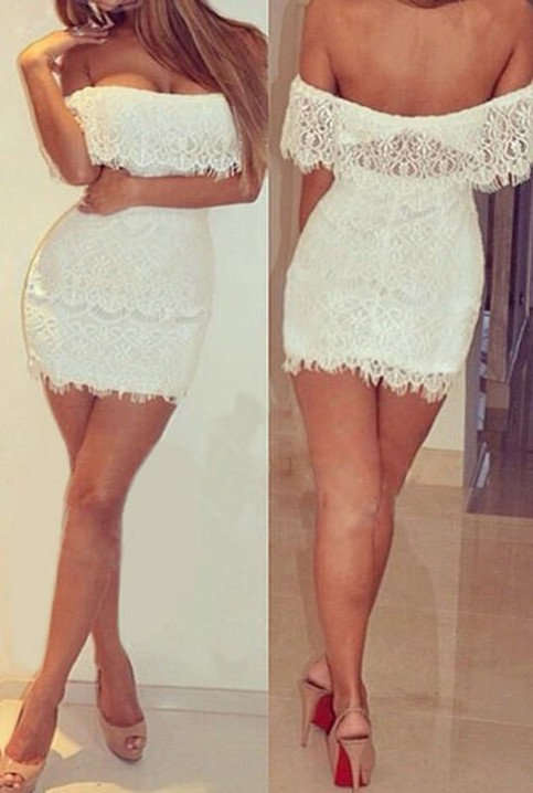 Outletpad | White Off Shoulder Layer Lace Dress | Online Store Powered by Storenvy