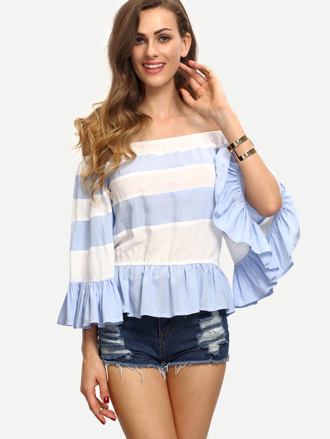 e68826c0c4c Multicolor Striped Off The Shoulder Ruffle Blouse -SheIn(Sheinside)