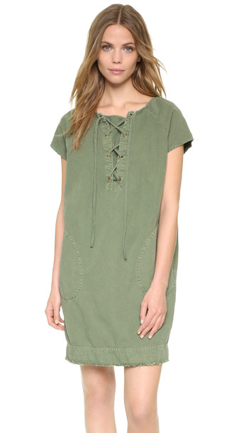 Nili Lotan Lace Up Short Sleeve Dress - Camo