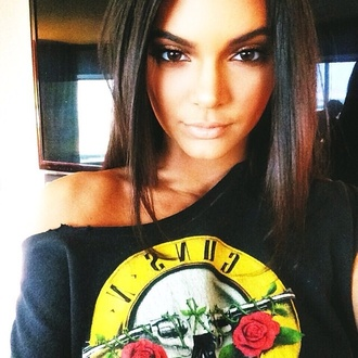 shirt kendall jenner guns and roses sweater top black