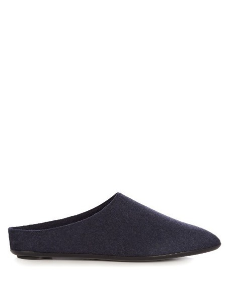 THE ROW Bea cashmere slippers in navy