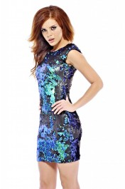 Iridescent Sequin Bodycon Dress - AX Paris