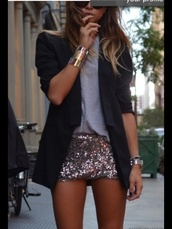 shirt,sequins,bodycon,gold,silver,skirt