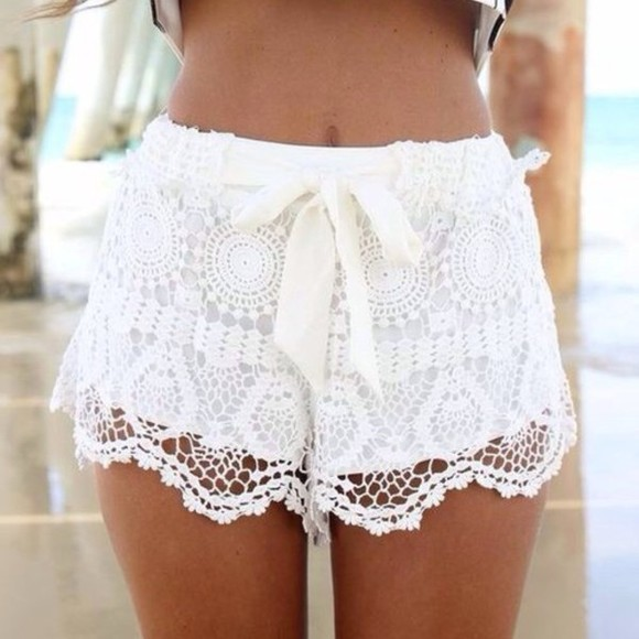 lace shorts whiteshorts