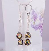 jewels,jewelry,earrings,long earrings,peacock,peacock jewelry,silver,sterling,statement earrings,swarovski