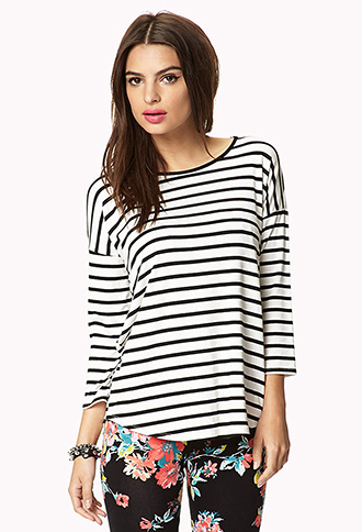 3/4 Sleeve Striped Top | FOREVER21 - 2042077742