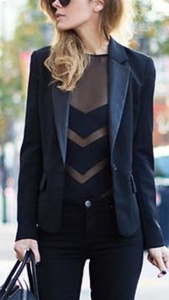 black shirt chevron classy tailoring see through body jacket