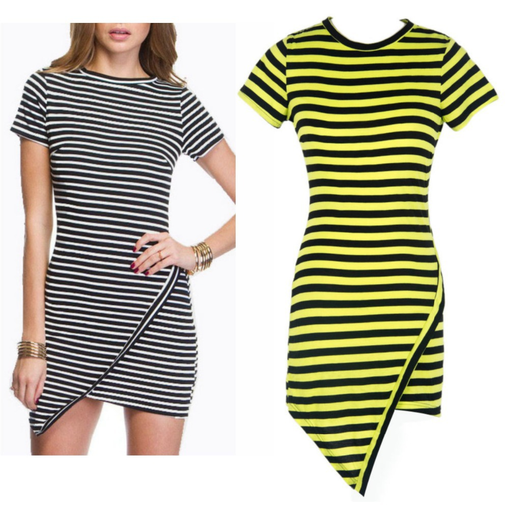 2014 Latest New Women Casual Jersey Black/Green/Pink Short Sleeve Striped Irregular Flouncing Stylish Mini Sun Bodycon Dress-in Dresses from Apparel & Accessories on Aliexpress.com | Alibaba Group