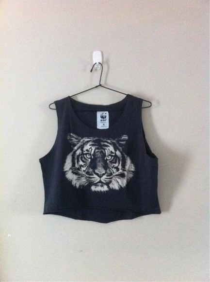 tiger print crop tops top sleeveless shirt streetwear fashion graphic tee tiger shirt black white tank top tumblr crop tops t-shirt lion roar unique