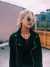jewels,necklace,body chain,Gender Neutral,no gender,jacket,grunge,soft grunge,biker,grunge jacket,grunge clothes,rock,black,Accessory,style,fashion,hailey baldwin,wrap necklace,crystal quartz,black leather jacket,black jacket,short hair,dope,perfecto,choker necklace,90s style,grunge accessory
