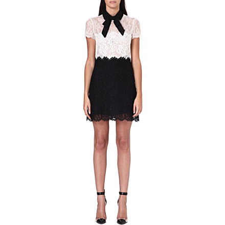VALENTINO - Monochrome lace bow dress | Selfridges.com