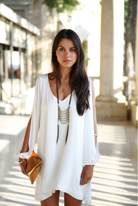 2014 Summer New Women's Dresses Loose Round Neck Strapless A line Casual Chiffon Celebrity Mini White Plus size Beach Dresses-in Dresses from Apparel & Accessories on Aliexpress.com