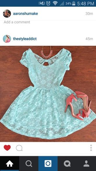 dress teal dress lace dress aqua dress short dress